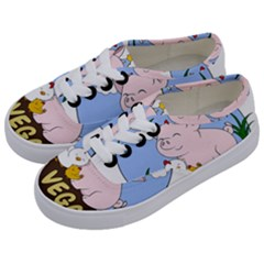 Go Vegan   Cute Pig And Chicken Kids  Classic Low Top Sneakers by Valentinaart