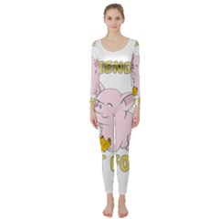 Friends Not Food   Cute Pig And Chicken Long Sleeve Catsuit by Valentinaart