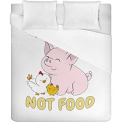 Friends Not Food   Cute Pig And Chicken Duvet Cover (california King Size) by Valentinaart