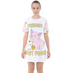 Friends Not Food   Cute Pig And Chicken Sixties Short Sleeve Mini Dress