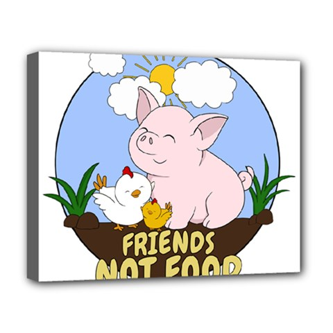 Friends Not Food   Cute Pig And Chicken Deluxe Canvas 20  X 16   by Valentinaart