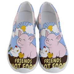 Friends Not Food   Cute Pig And Chicken Men s Lightweight Slip Ons by Valentinaart