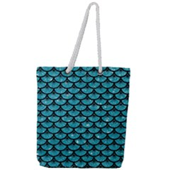 Scales3 Black Marble & Turquoise Glitter Full Print Rope Handle Tote (large) by trendistuff