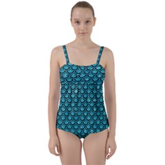 Scales2 Black Marble & Turquoise Glitter Twist Front Tankini Set