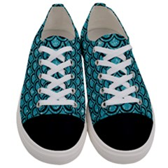Scales2 Black Marble & Turquoise Glitter Women s Low Top Canvas Sneakers