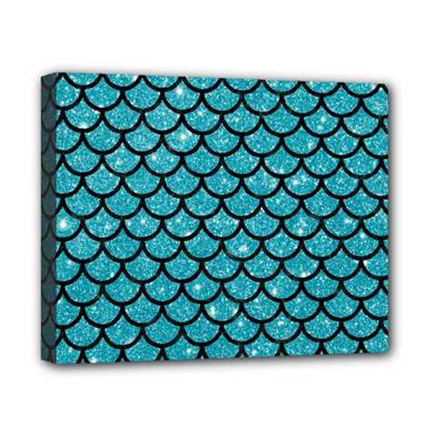 Scales1 Black Marble & Turquoise Glitter Canvas 10  X 8  by trendistuff