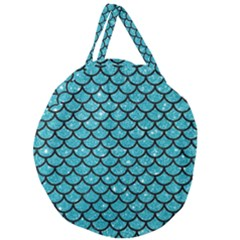 Scales1 Black Marble & Turquoise Glitter Giant Round Zipper Tote by trendistuff