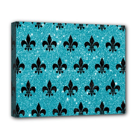 Royal1 Black Marble & Turquoise Glitter (r) Deluxe Canvas 20  X 16   by trendistuff