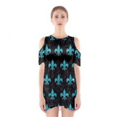 Royal1 Black Marble & Turquoise Glitter Shoulder Cutout One Piece