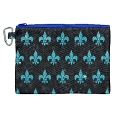 Royal1 Black Marble & Turquoise Glitter Canvas Cosmetic Bag (xl) by trendistuff