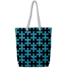 Puzzle1 Black Marble & Turquoise Glitter Full Print Rope Handle Tote (small)