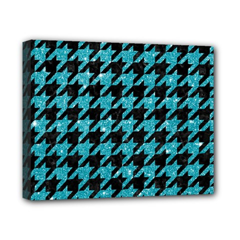 Houndstooth1 Black Marble & Turquoise Glitter Canvas 10  X 8  by trendistuff