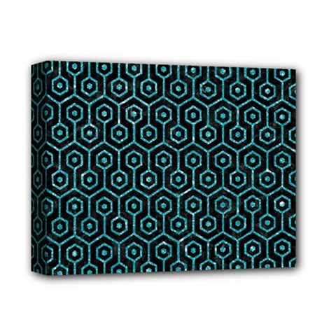 Hexagon1 Black Marble & Turquoise Glitter (r) Deluxe Canvas 14  X 11  by trendistuff