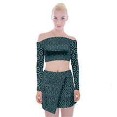 Hexagon1 Black Marble & Turquoise Glitter (r) Off Shoulder Top With Mini Skirt Set