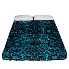 Damask2 Black Marble & Turquoise Glitter Fitted Sheet (california King Size) by trendistuff