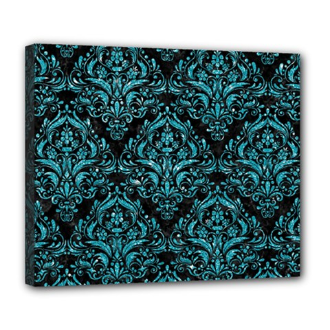 Damask1 Black Marble & Turquoise Glitter (r) Deluxe Canvas 24  X 20   by trendistuff