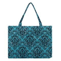 Damask1 Black Marble & Turquoise Glitter Medium Tote Bag by trendistuff