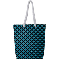 Circles3 Black Marble & Turquoise Glitter Full Print Rope Handle Tote (small) by trendistuff