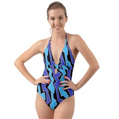 Vertical Blues Polynoise Halter Cut Out One Piece Swimsuit by jumpercat