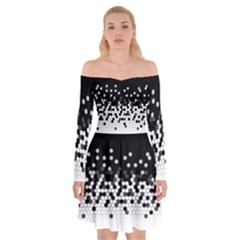 Flat Tech Camouflage Black And White Off Shoulder Skater Dress by jumpercat