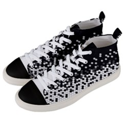 Flat Tech Camouflage Black And White Men s Mid Top Canvas Sneakers by jumpercat