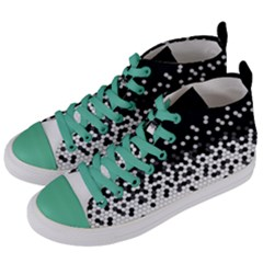 Flat Tech Camouflage Black And White Women s Mid Top Canvas Sneakers by jumpercat