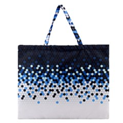 Flat Tech Camouflage Reverse Blue Zipper Large Tote Bag by jumpercat