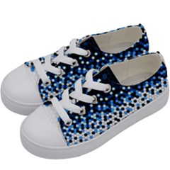 Flat Tech Camouflage Reverse Blue Kids  Low Top Canvas Sneakers by jumpercat