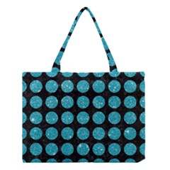 Circles1 Black Marble & Turquoise Glitter (r) Medium Tote Bag by trendistuff