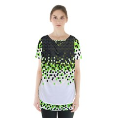 Flat Tech Camouflage Reverse Green Skirt Hem Sports Top by jumpercat
