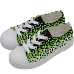 Flat Tech Camouflage Reverse Green Kids  Low Top Canvas Sneakers by jumpercat