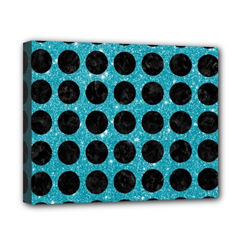 Circles1 Black Marble & Turquoise Glitter Canvas 10  X 8  by trendistuff