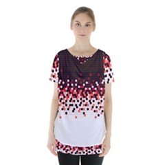 Flat Tech Camouflage Reverse Red Skirt Hem Sports Top by jumpercat