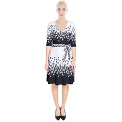 Flat Tech Camouflage White And Black Wrap Up Cocktail Dress