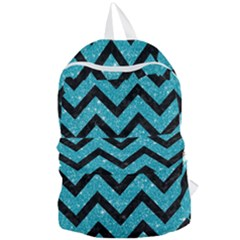 Chevron9 Black Marble & Turquoise Glitter Foldable Lightweight Backpack by trendistuff