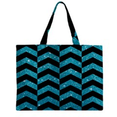Chevron2 Black Marble & Turquoise Glitter Zipper Mini Tote Bag by trendistuff