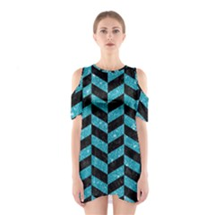 Chevron1 Black Marble & Turquoise Glitter Shoulder Cutout One Piece