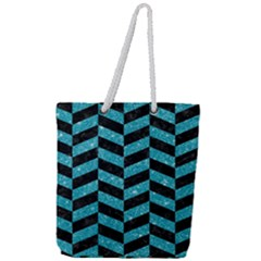 Chevron1 Black Marble & Turquoise Glitter Full Print Rope Handle Tote (large) by trendistuff