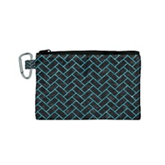 Brick2 Black Marble & Turquoise Glitter (r) Canvas Cosmetic Bag (small) by trendistuff