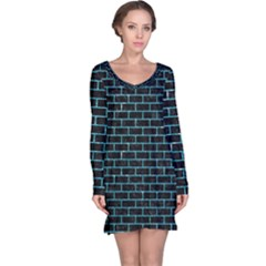 Brick1 Black Marble & Turquoise Glitter (r) Long Sleeve Nightdress