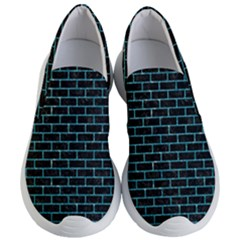 Brick1 Black Marble & Turquoise Glitter (r) Women s Lightweight Slip Ons