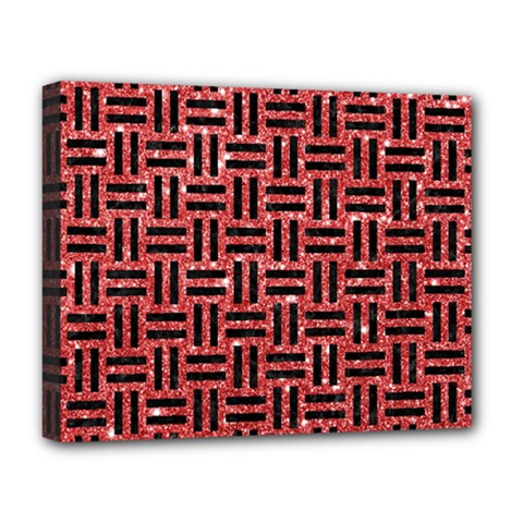 Woven1 Black Marble & Red Glitter Deluxe Canvas 20  X 16   by trendistuff
