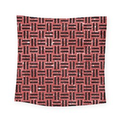 Woven1 Black Marble & Red Glitter Square Tapestry (small) by trendistuff