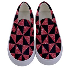 Triangle1 Black Marble & Red Glitter Kids  Canvas Slip Ons