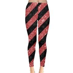 Stripes3 Black Marble & Red Glitter (r) Leggings  by trendistuff