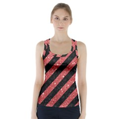 Stripes3 Black Marble & Red Glitter (r) Racer Back Sports Top