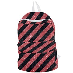 Stripes3 Black Marble & Red Glitter (r) Foldable Lightweight Backpack by trendistuff
