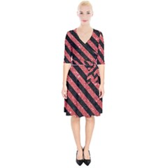 Stripes3 Black Marble & Red Glitter Wrap Up Cocktail Dress