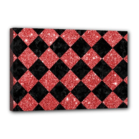 Square2 Black Marble & Red Glitter Canvas 18  X 12  by trendistuff