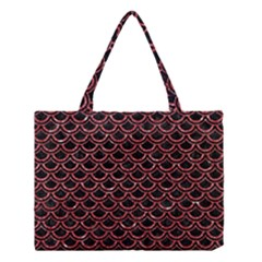 Scales2 Black Marble & Red Glitter (r) Medium Tote Bag by trendistuff
